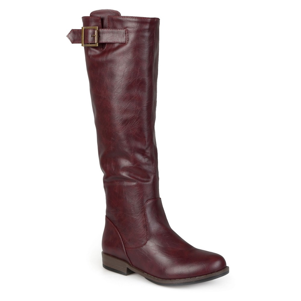 Womens Journee Collection Buckle Detail Fashion Boots - Red 9 Wide Calf