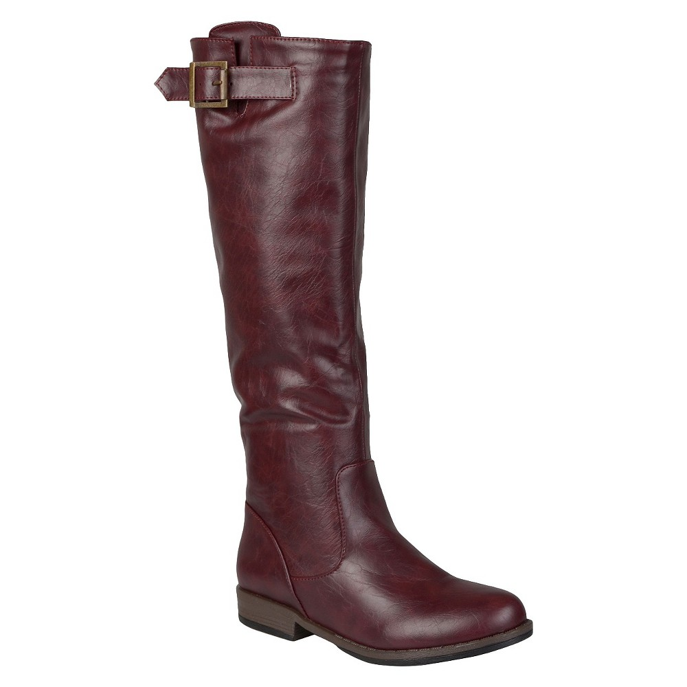 Womens Journee Collection Buckle Detail Fashion Boots - Red 7 Wide Calf