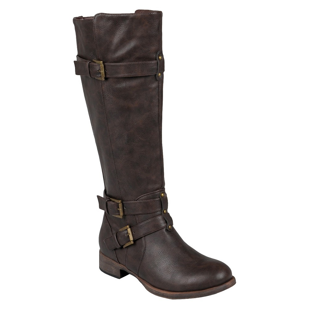 Womens Journee Collection Buckle Detail Tall Boots - Brown 8.5 Wide Calf