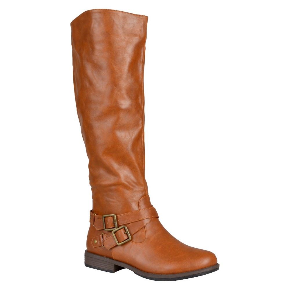 Womens Journee Collection Round Toe Buckle Detail Boots - Dark Chestnut 10 Wide Calf