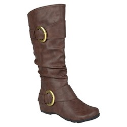 Women's Journee Collection Buckle Detail Slouch Boots - Brown 8.5