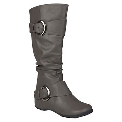 Women's Journee Collection Buckle Detail Slouch Boots - Gray 7.5