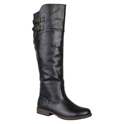 Women's Journee Collection Round Toe Buckle Detail Boots - Black 8.5 Wide Calf