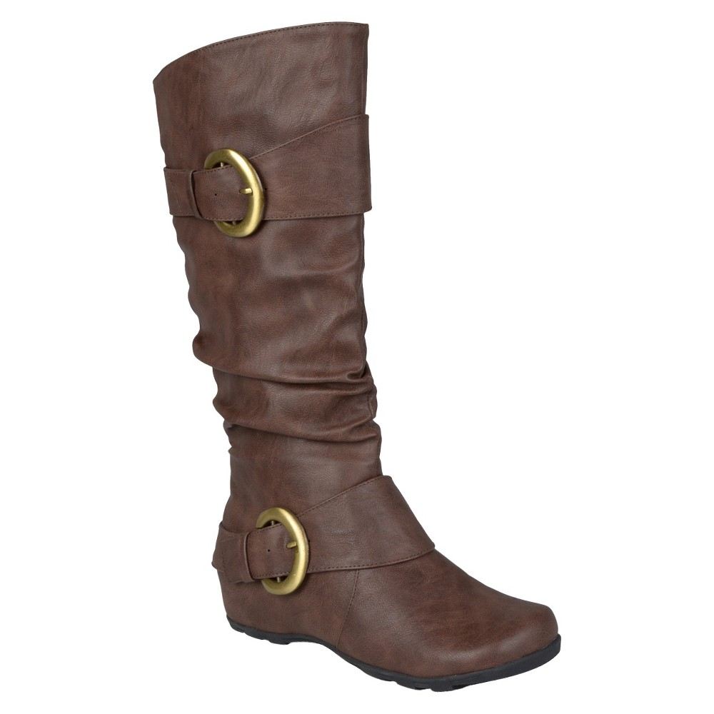 Womens Journee Collection Buckle Detail Slouch Boots - Brown 7.5 Wide Calf