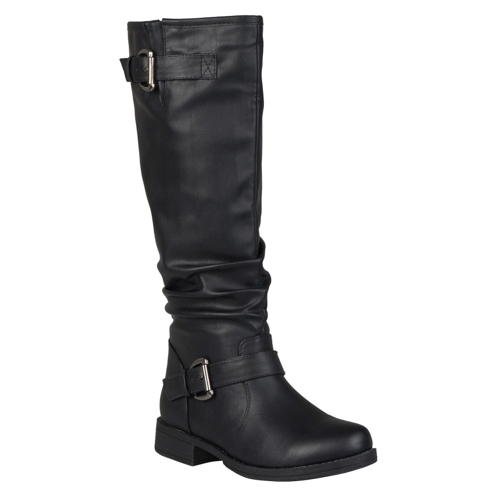 Womens Journee Collection Buckle Detail Slouch Boots - Black 7.5 Wide Calf