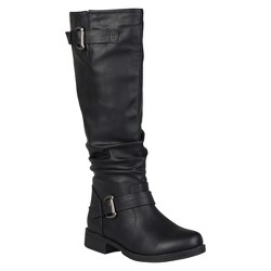 Women's Journee Collection Buckle Detail Slouch Boots - Black 10 Wide Calf