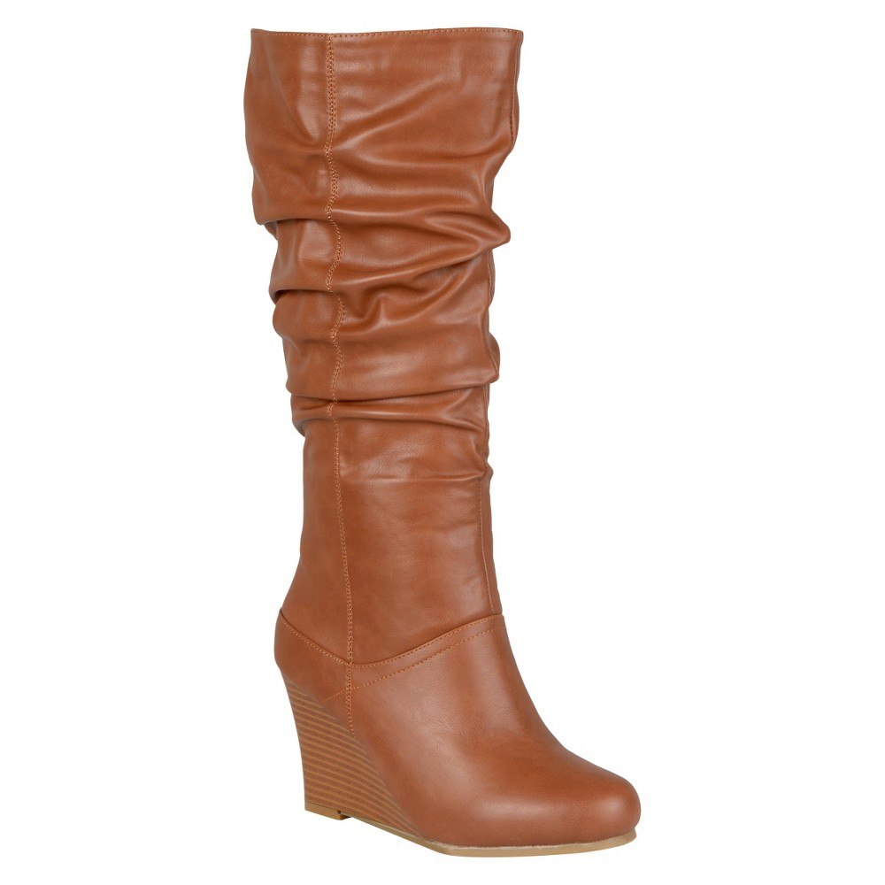 Womens Journee Collection Slouchy Wedge Boots - Dark Chestnut 9 Wide Calf