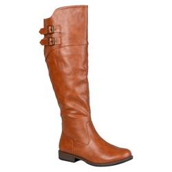 Women's Journee Collection Round Toe Buckle Detail Boots - Dark Chestnut 9