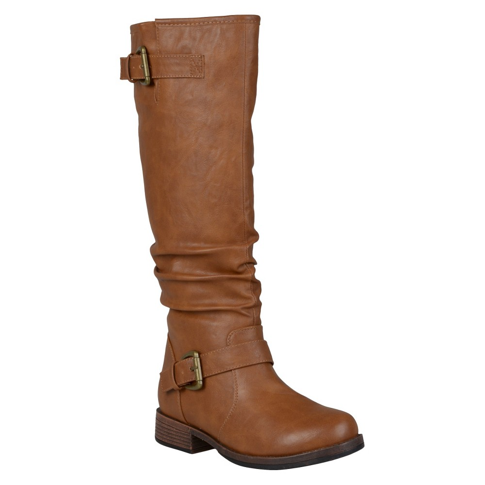Womens Journee Collection Buckle Detail Slouch Boots - Dark Chestnut 7.5 Wide Calf
