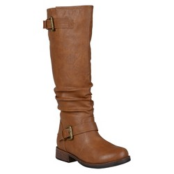 Women's Journee Collection Buckle Detail Slouch Boots - Dark Chestnut 9.5 Wide Calf