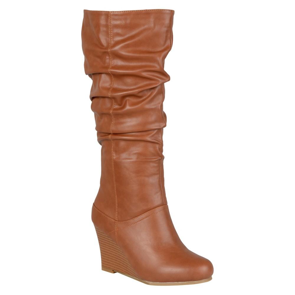 Womens Journee Collection Slouchy Wedge Boots - Dark Chestnut 8