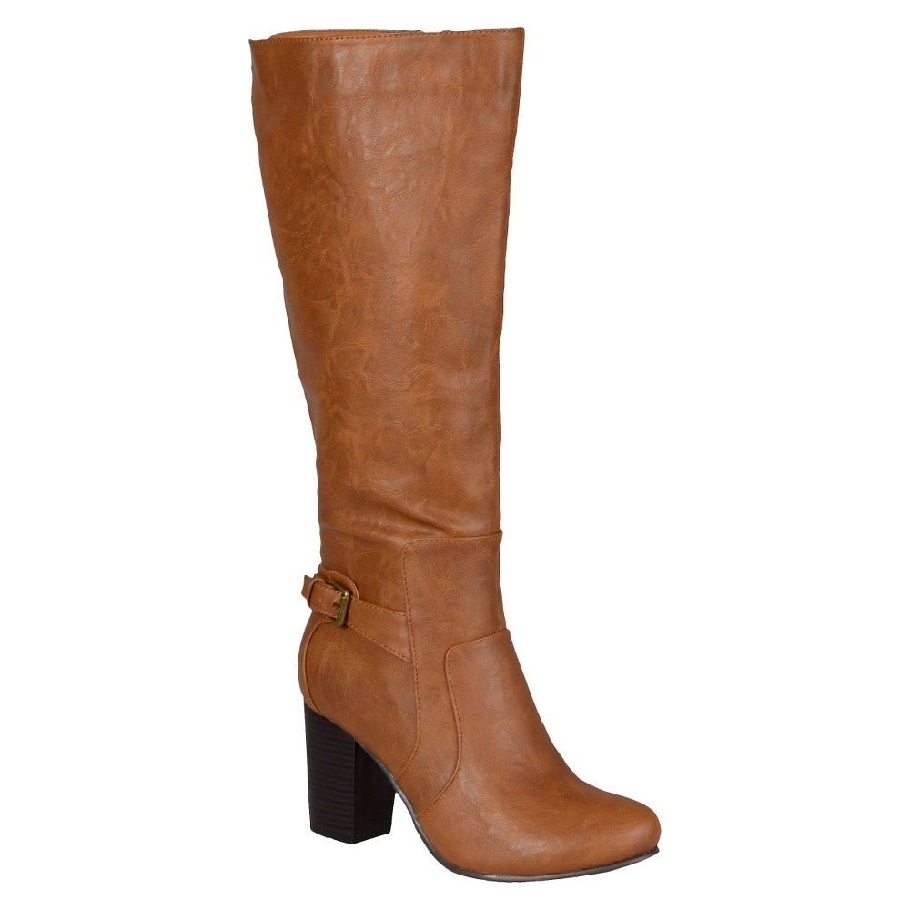 Women's Journee Collection Buckle Detail Heeled Boots - Tan 8 Wide Calf