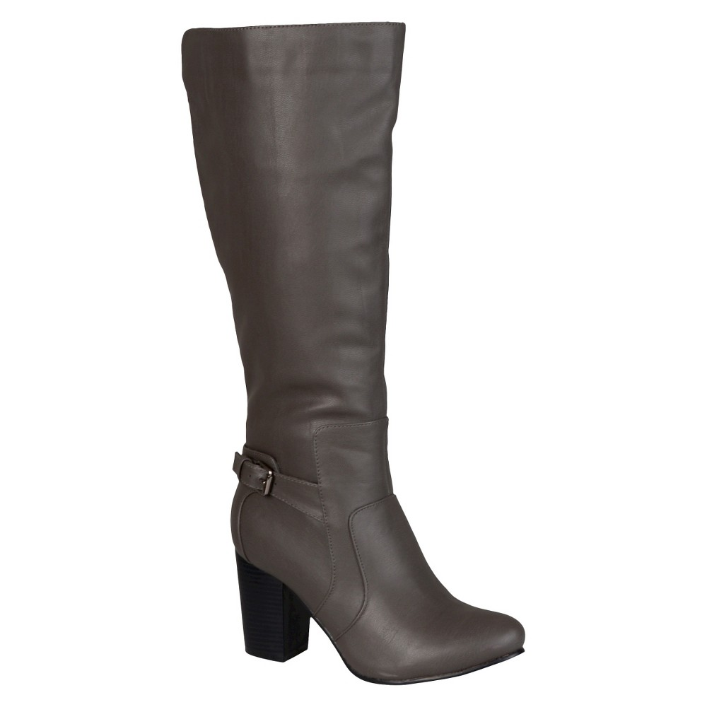 Women's Journee Collection Buckle Detail Heeled Boots - Gray 8.5 Wide Calf plus size,  plus size fashion plus size appare