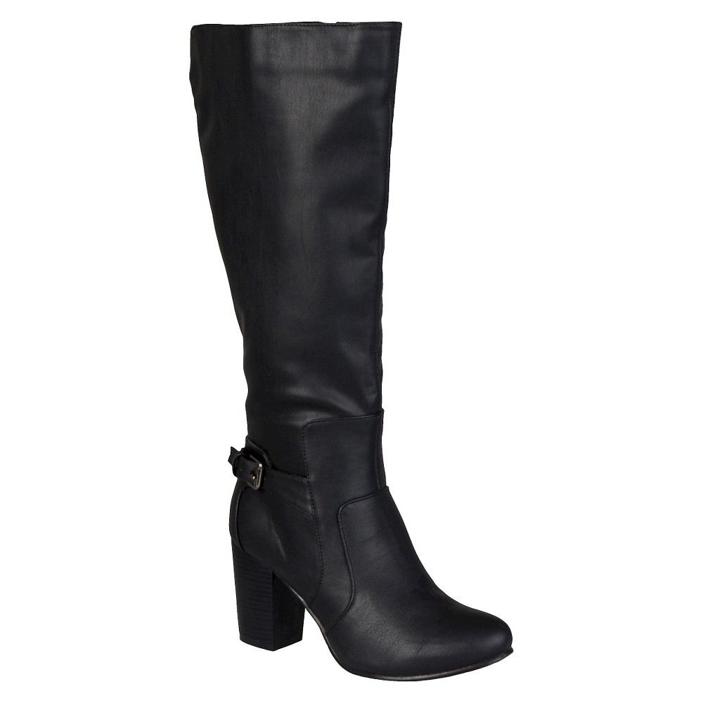 Womens Journee Collection Buckle Detail Heeled Boots - Black 10 Wide Calf