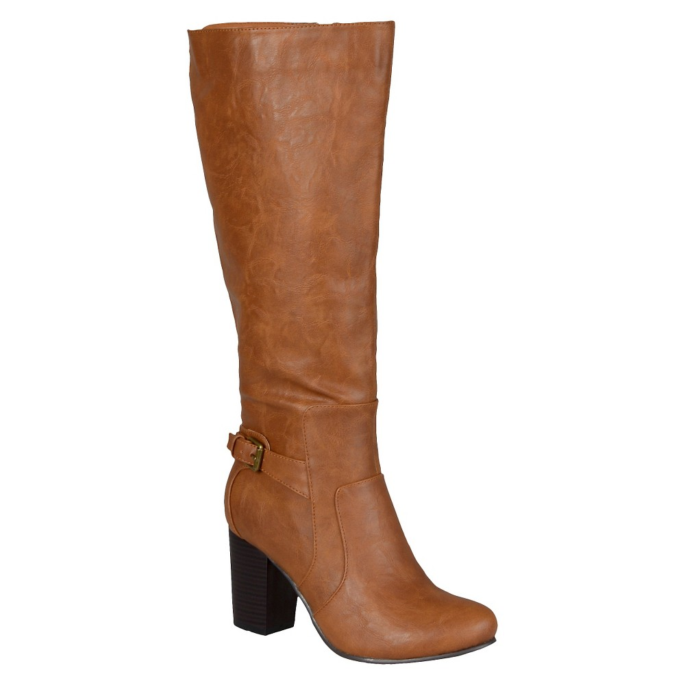 Womens Journee Collection Buckle Detail Heeled Boots - Tan 8.5
