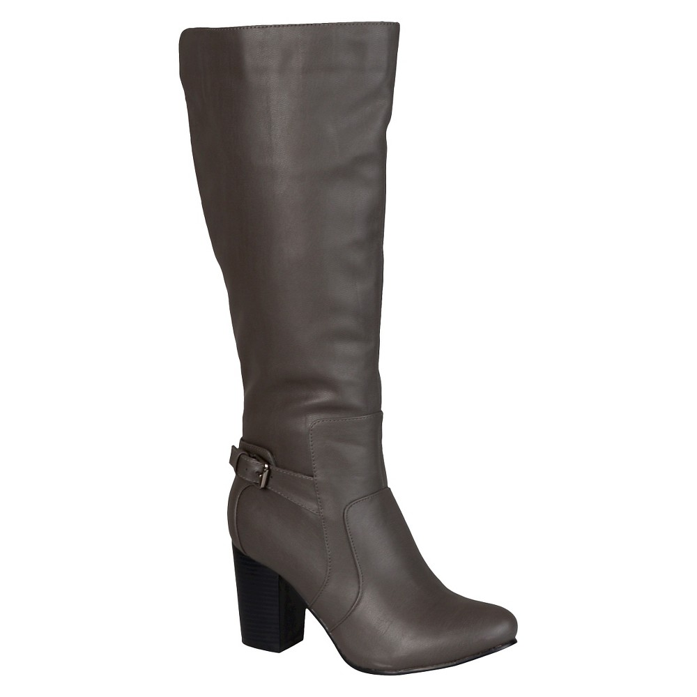 Womens Journee Collection Buckle Detail Heeled Boots - Gray 7.5