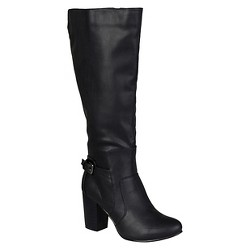 Women's Journee Collection Buckle Detail Heeled Boots - Black 7.5