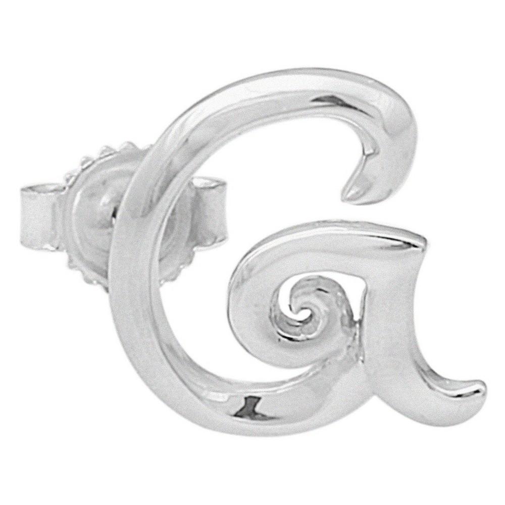 Womens Sterling Silver Single Initial Earring G