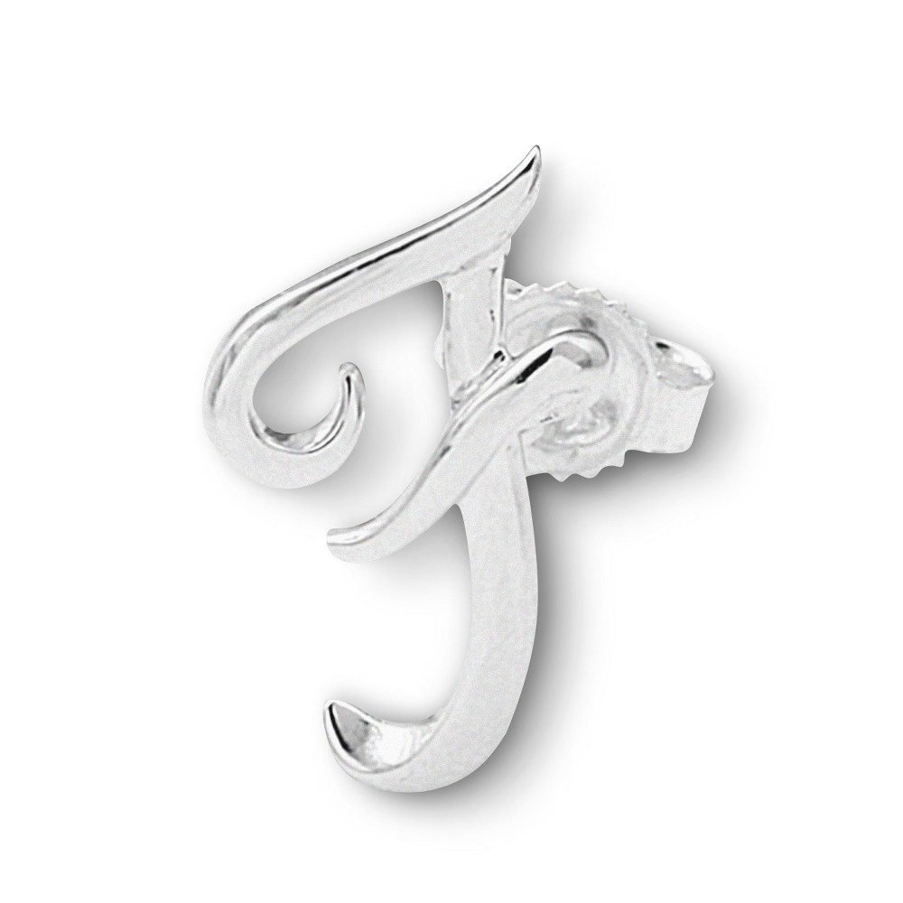 Womens Sterling Silver Single Initial Earring F