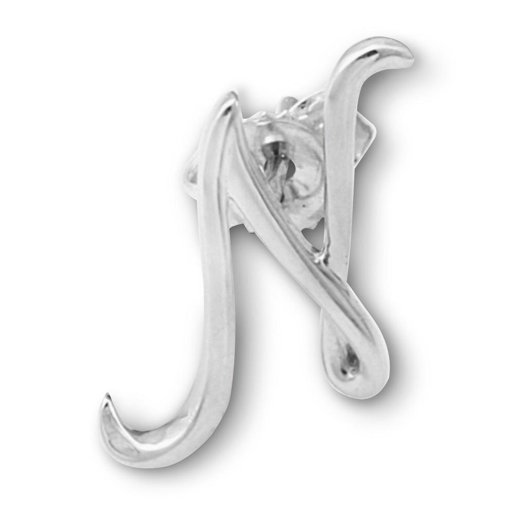 Womens Sterling Silver Single Initial Earring N