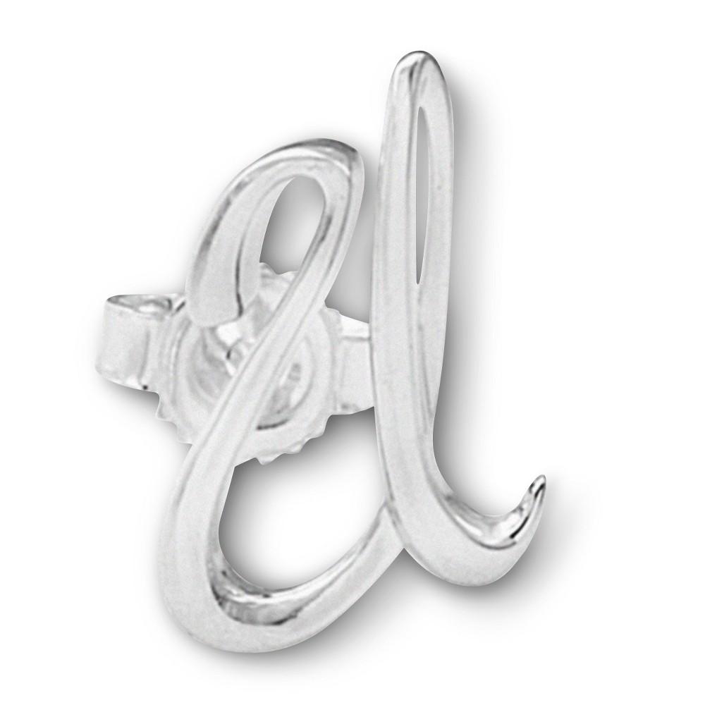 Women's Sterling Silver Single Initial Earring U