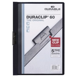"Durable® 60"" Capacity Vinyl DuraClip Letter Sized Report Cover with Clip - Clear/Navy"" - 4 Pack"
