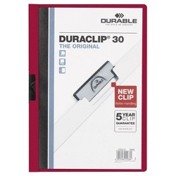 "Durable® 30"" Capacity Vinyl DuraClip Letter Sized Report Cover with Clip - Clear/Maroon"" - 5 Pack"