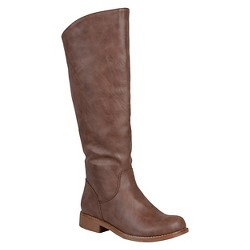 Women's Journee Collection Slouchy Round Toe Boots - Brown 7 Wide Calf