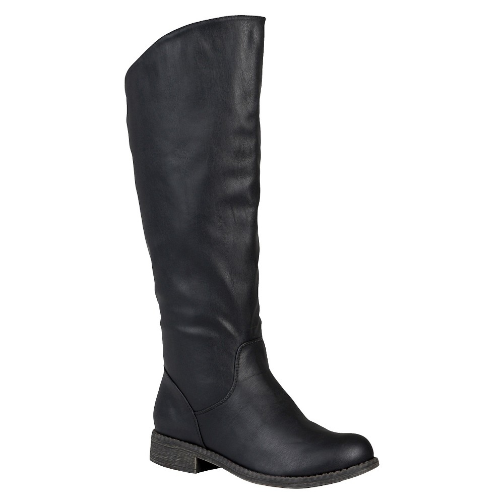 Womens Journee Collection Slouchy Round Toe Boots - Black 9.5 Wide Calf