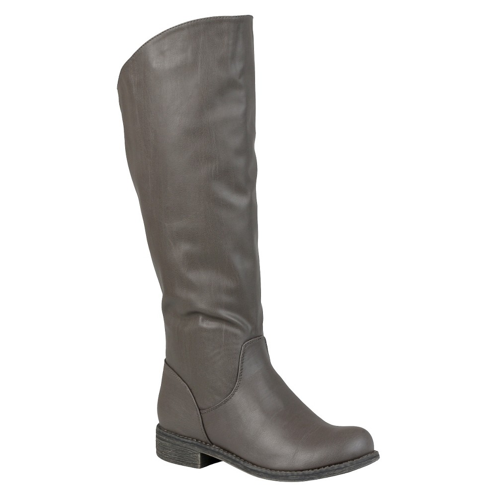 Womens Journee Collection Slouchy Round Toe Boots - Gray 8.5 Wide Calf