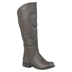 Women's Journee Collection Slouchy Round Toe Boots - Gray 9.5 Wide Calf