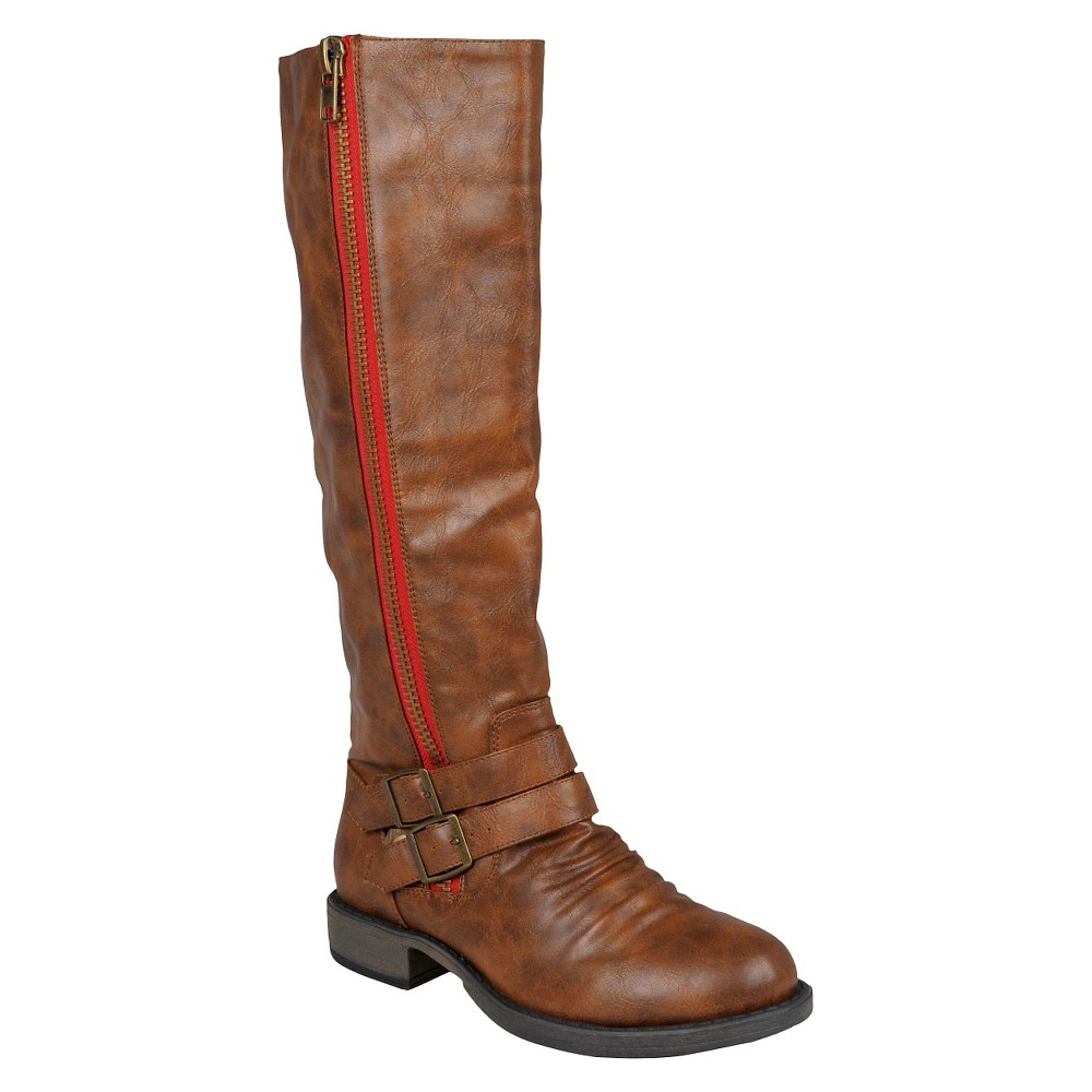 Womens Journee Collection Buckle Detail Tall Boots - Brown 7 Wide Calf