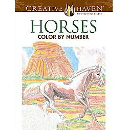 Horses Adult Coloring Book: Color by Number