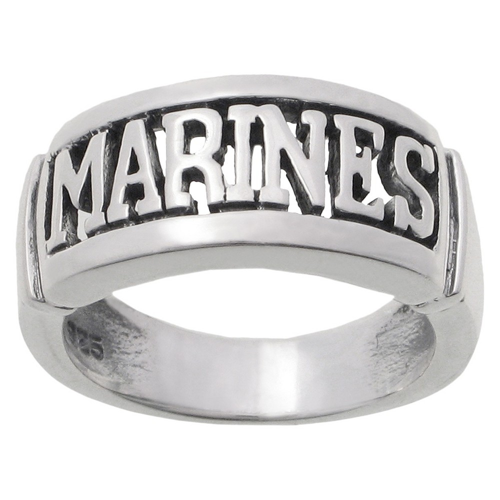Womens Tressa Collection Sterling Silver Armed Forces Marines Band - Silver (14)