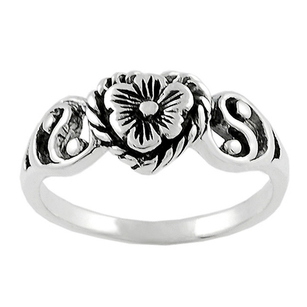 Womens Tressa Collection Sterling Silver Heart Flower and Yin Yang Ring - Silver (6)