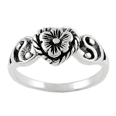 Women's Tressa Collection Sterling Silver Flower Heart and Ying Yang Ring - image 1 of 2