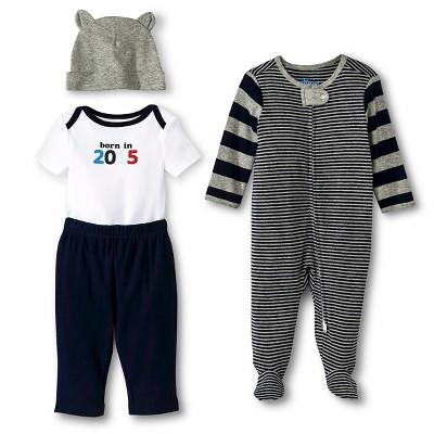 Newborn Boys' 4 Pack Set Blue/Gray - Circo 0-3M