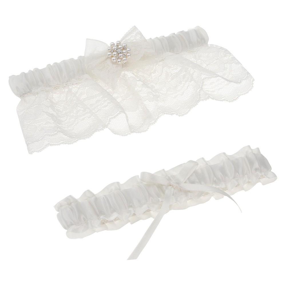 Somerset Ivory Bridal Garter Set, Womens, White