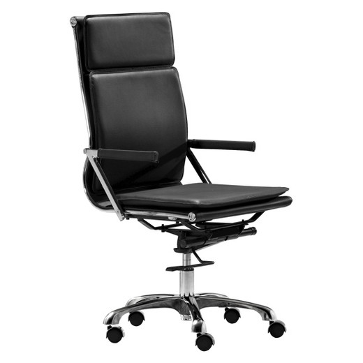 ergonomic upholstered high back adjustable office chair - black