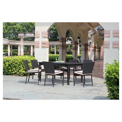 Harrison Wicker 9 Piece Extendable Patio Dining Set