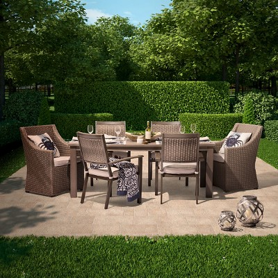Premium Edgewood 7 Piece Wicker Patio Dining Set   Smith U0026 Hawken™