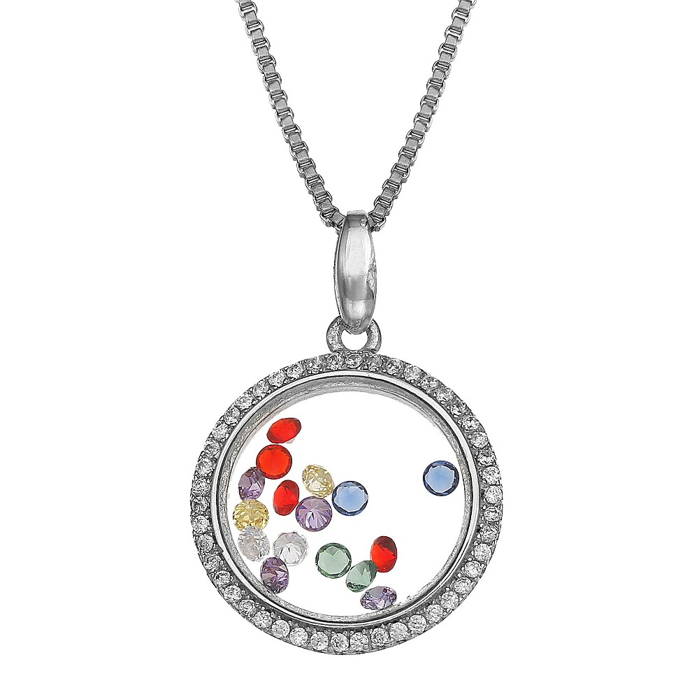 Sterling Silver Round Locket with Floating Cubic Zirconia Necklace (18), Womens
