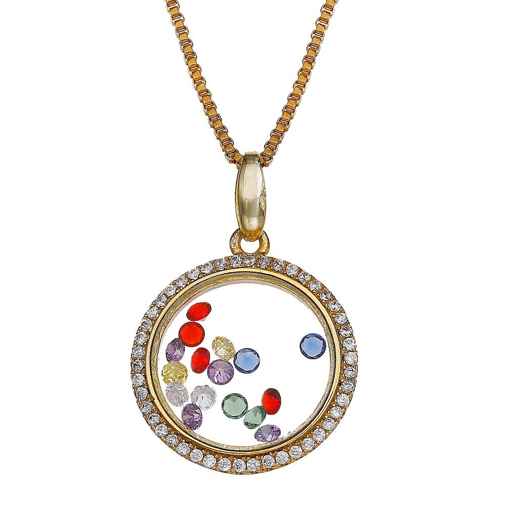 Sterling Silver Round Locket with Floating Cubic Zirconia Necklace in 14K - 18 - Gold, Womens
