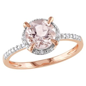Allura 0.05 CT. T.W. Diamond with 1 1/6 CT. T.W. Morganite Ring in 10K Pink Gold (GH I1-I2) (6), Women
