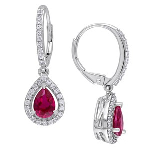 Allura 2 7/8 CT. T.W. Created Ruby with Created White Sapphire Lever Back Prong Set Earrings in Sterling Silver, Women