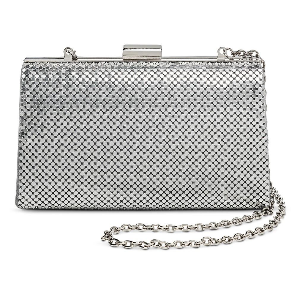 Womens Chain Metal Clutch Handbag with Strap Silver - Tevolio