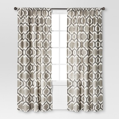 Linen-Look Fretwork Curtain Panel Gray Marble - Threshold™
