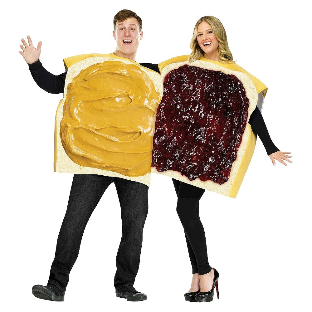 Adult Peanut Butter And Jelly Couple Costume One Size Fits Most, Adult Unisex, Multi-Colored
