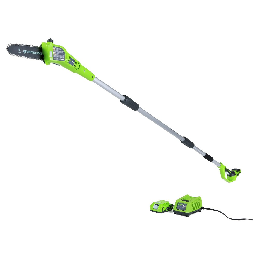 Greenworks G24 24V Cordless 8 Bar and Chain Pole Saw - with 2.0Ah Battery and Charger, Green