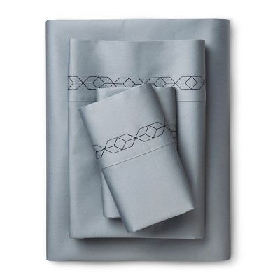 Sheet Set (Queen)Embroidered Geo Navy & Gray 300 Thread Count - Nate Berkus™